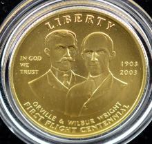 2003-W $10 First Flight UNC Gold Coin w/B&P