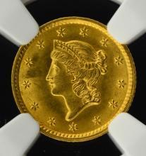 1852 $1 Liberty Head Gold Dollar NGC MS 63