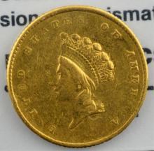 1854 T2 $1 Indian Princess Head Gold Dollar Damage
