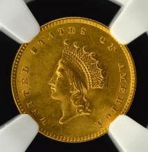 1854 G$1 T2 Indian Princess Head Dollar NGC MS 63