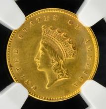 1855 G$1 Indian Princess Head Dollar NGC UNC Det.