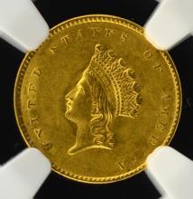 1855 G$1 Indian Princess Head Dollar NGC MS 62 CAC