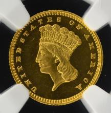 1864 G$1 Indian Princess Dollar NGC PF 63+ UC CAC