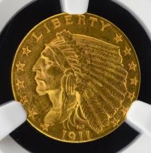 1911 $2.5 Indian Head Gold Quarter Eagle NGC MS 62