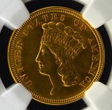1854 $3 Indian Princess Head Gold Piece NGC AU 58