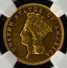 1878 $3 Indian Princess Head Gold Piece NGC AU 58