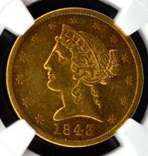 1843 $5 Liberty Head Gold Half Eagle NGC XF 40