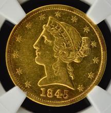 1845 $5 Liberty Head Gold Half Eagle NGC XF Det.