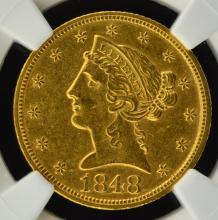 1848 $5 Liberty Head Gold Half Eagle NGC AU 55