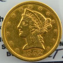 1852 $5 Liberty Head Gold Half Eagle XF