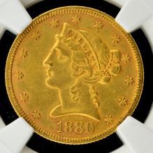 1880 $5 Liberty Head Gold Half Eagle NGC AU 58