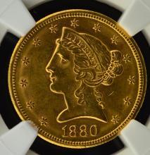 1880 S $5 Liberty Head Gold Half Eagle NGC MS 61