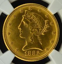 1882 $5 Liberty Head Gold Half Eagle NGC MS 63