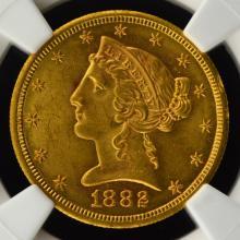 1882-S $5 Liberty Head Gold Half Eagle NGC UNC Det