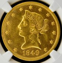 1849 $10 Liberty Head Gold Eagle NGC MS 63+ CAC
