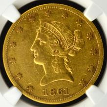 1861 $10 Liberty Head Gold Eagle NGC XF Details