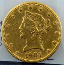 1901 $10 Liberty Head Gold Eagle VF Details