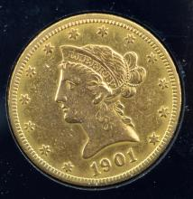 1901 $10 Liberty Head Gold Eagle XF Details