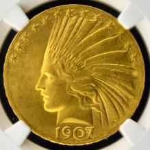 1907 $10 Wire Rim Indian Gold Eagle NGC MS66 CAC