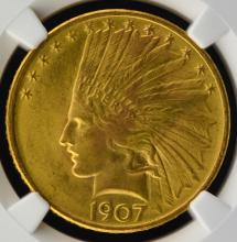 1907 $10 Indian Head Gold Eagle NGC MS 65+ CAC