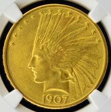 1907 $10 Indian Head Gold Eagle NGC MS 66 CAC