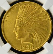 1908 $10 NM Indian Head Gold Eagle NGC MS 65 CAC