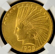 1908 $10 Motto Indian Head Gold Eagle NGC MS 60