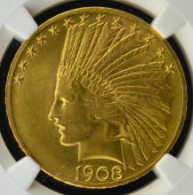 1908 $10 Motto Indian Head Gold Eagle NGC MS62 CAC