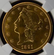 1891-S $20 Liberty Head Gold Dbl Eagle NGC UNC Det