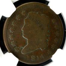 1814 Plain 4 Classic Head Lg Cent S-295 NGC VG Det