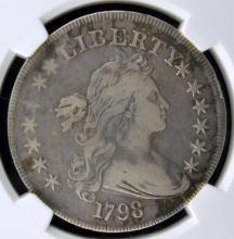 1798 Lg. Eagle Draped Bust S$1 NGC VF Details I/C