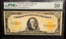 1922 $10 Gold Certificate Large Note PMG VF 30 EPQ