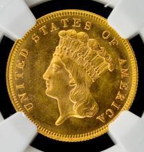 1880 G$3 Indian Princess Head Piece NGC MS64+ CAC