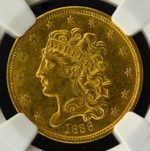 1836 $5 Classic Head Gold Half Eagle NGC AU58+ CAC