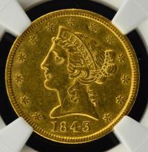 1843 $5 Liberty Head Gold Half Eagle NGC AU 55 CAC