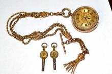 9ct Cuivre D&R Pocket Watch With Fob