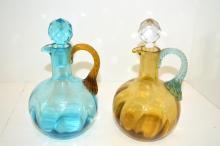 Two Art Glass Cruets