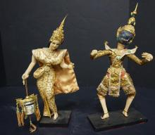 Vintage Pair Of Siamese Thai Dancers