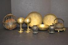 Lot of Misc Brass & Cast Iron decorative items