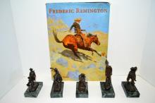Five Miniature Bronzes After Remington And Book