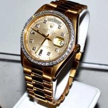 Man's 18kyg Rolex President Watch With Diamonds