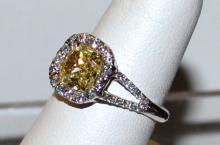 Platinum/ 18kwg Yellow & White Diamond Ring 2ct