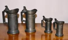 Antique Lot of Four Pewter Measuring Cups