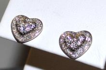 Sterling Diamond Heart Earrings Scott Kay