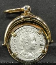 Roman Silver Ancient Coin in Bezel
