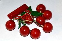 Authentic 1930s Bakelite Cherry Brooch