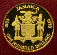 1978 Jamaica G$100 25th Anniv. Coronation PF Coin