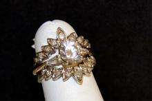 14kwg CZ ring With 14kyg Diamond Ring Guard