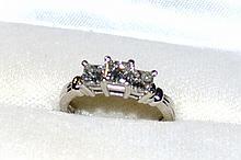 Platinum 3 Princess Diamond Ring 1.50ctw