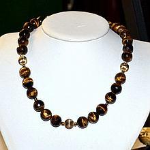 Tiger Eye Quartz Necklace & Earrings